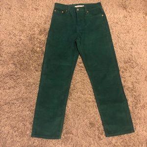 Levi's Wedgie Straight Corduroy Green Pants